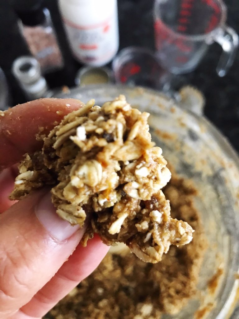 energy balls, dates, tahini, oats